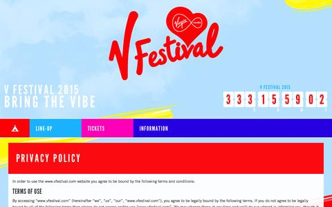 Screenshot of Privacy Page vfestival.com - Privacy Policy - captured Sept. 19, 2014