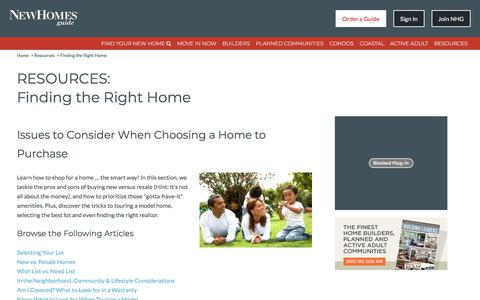 Finding the Right Home, Issues to Consider When Choosing a Home to Purchase - New Homes Guide