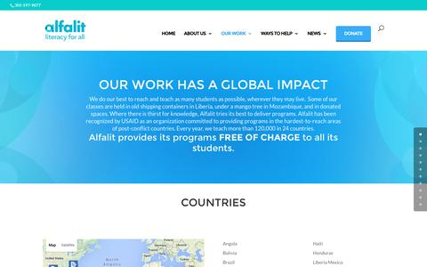 Screenshot of Testimonials Page alfalit.org - Our Work   Alfalit - captured May 21, 2016