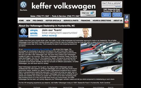 Screenshot of About Page keffervw.com - About Keffer Volkswagen | VW Dealer near Statesville, NC - captured Nov. 3, 2014