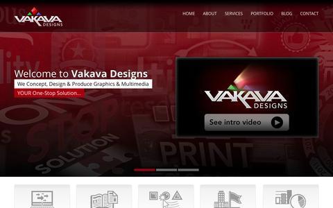 Screenshot of Home Page vakavadesigns.com - Print Design, Web Design, Multimedia and Illustration   |   Maine, Mass, NH, CT, NY   |   Vakava Designs - captured Oct. 5, 2014