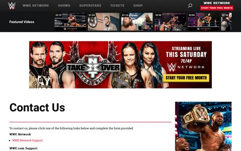 Screenshot of Contact Page wwe.com - Contact Us | WWE - captured Aug. 7, 2019
