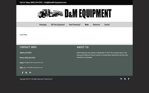 Screenshot of Press Page dandm-equipment.com - D&M Equipment Update Truck News - D&M Equipment - captured Oct. 3, 2014