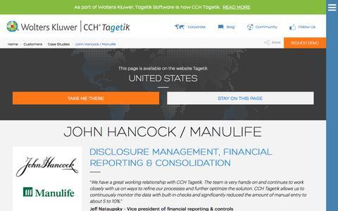 Screenshot of Case Studies Page tagetik.com - Case Study: John Hancock / Manulife | CCH Tagetik - captured July 5, 2017