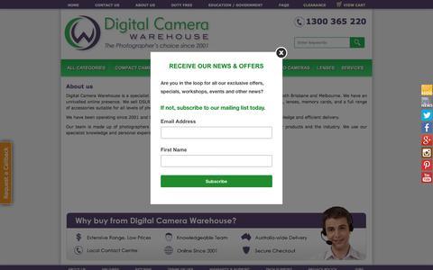 Screenshot of About Page digitalcamerawarehouse.com.au - All about Digital Camera Warehouse - how to buy a cheap digital camera - Brisbane, Melbourne, Sydney - captured Aug. 1, 2016