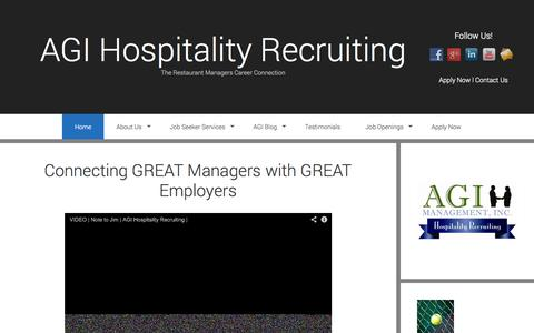 Screenshot of Home Page agi.jobs - Who is AGI Hospitality Recruiting | Restaurant Management Jobs - captured Oct. 4, 2014