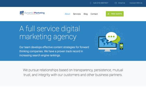 Screenshot of About Page dynamicimarketing.com - About - Dynamic iMarketing Agency - captured July 8, 2018
