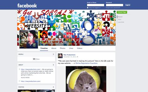Screenshot of Facebook Page facebook.com - Mac Productions | Facebook - captured Oct. 23, 2014