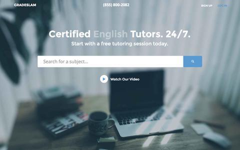 Screenshot of Home Page gradeslam.org - Find Your Perfect Tutor | GradeSlam.org - captured Jan. 21, 2015
