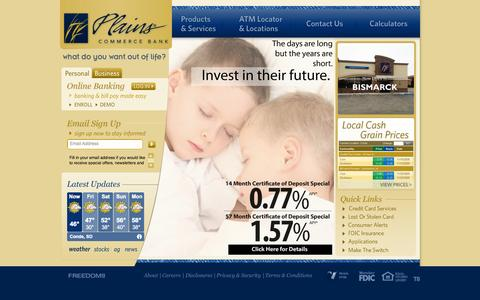 Screenshot of Home Page About Page Contact Page Jobs Page Site Map Page Terms Page Locations Page plainscommerce.com - Plains Commerce Bank: Home - captured Oct. 2, 2014