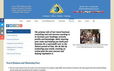 Screenshot of Services Page travelbusinesssuccess.com - Travel Business Consulting, Tourism Marketing Consulants - captured Feb. 22, 2018