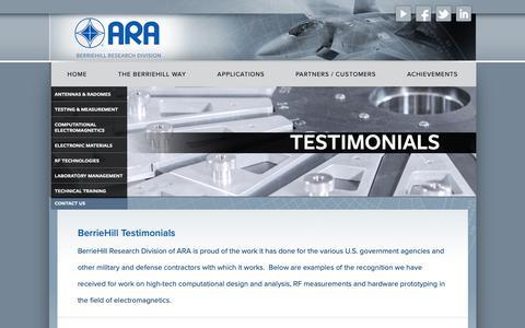 Screenshot of Testimonials Page berriehill.com - Testimonials | BerrieHill Research Division of ARA - captured Oct. 5, 2018
