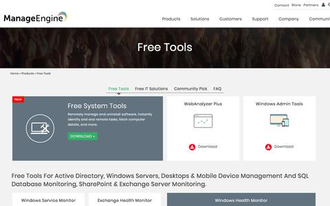 ManageEngine - Free Tools | Free IT Management Tools