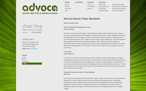 Screenshot of Team Page advoca.com - The Advoca Web Design Team - captured Sept. 30, 2014