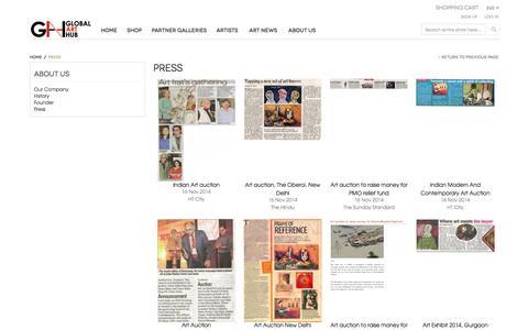 Screenshot of Press Page globalarthub.com captured May 18, 2017