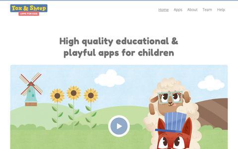 Screenshot of Home Page foxandsheep.com - Fox & Sheep – Apps for kids | Fox and Sheep - captured Feb. 7, 2019