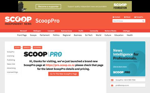 Screenshot of Services Page scoop.co.nz - ScoopPro   Scoop News - captured Sept. 22, 2018