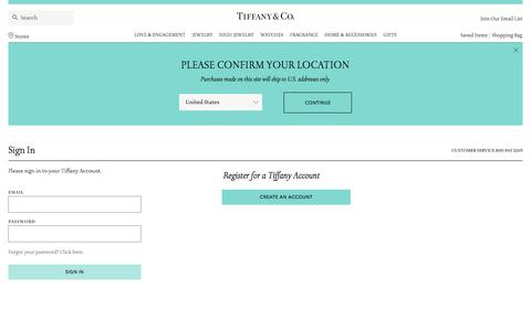 Screenshot of Login Page tiffany.com - Sign In | Tiffany & Co. - captured May 17, 2018