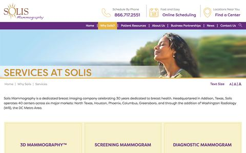 Screenshot of Services Page solismammo.com - Breast Screening and Imaging Services | Solis Mammography - captured Oct. 27, 2017