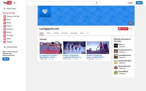 Screenshot of YouTube Page youtube.com - Lovingsports.com  - YouTube - captured Oct. 22, 2014