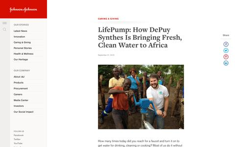 LifePump: How DePuy Synthes Is Bringing Fresh, Clean Water to Africa | Johnson & Johnson
