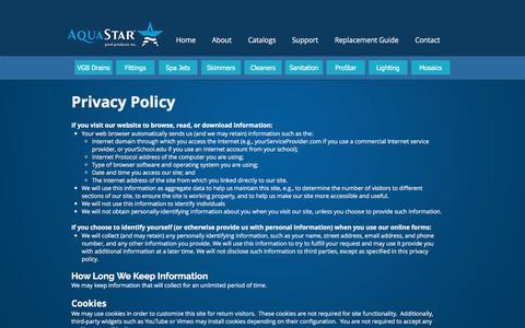 Screenshot of Privacy Page aquastarpoolproducts.com - AquaStar Pool Products - captured July 30, 2018