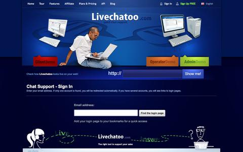 Screenshot of Login Page livechatoo.com - Live Support, Chat Support - Sign In / Livechatoo.com - captured Nov. 20, 2017