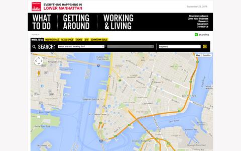 Screenshot of Maps & Directions Page downtownny.com - Directions Map | Downtown Alliance - Lower Manhattan - captured Sept. 23, 2014