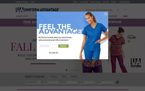 Screenshot of Home Page uniformadvantage.com - Scrubs, Nursing Uniforms, and Medical Scrubs at Uniform Advantage - captured Aug. 11, 2016