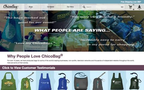 Screenshot of Testimonials Page chicobag.com - ChicoBag  | Testimonials - captured Sept. 22, 2016