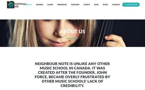 Screenshot of About Page neighbournote.ca - About Us - Private Music Lessons - Music School Toronto - Neighbour Note - captured Aug. 14, 2019