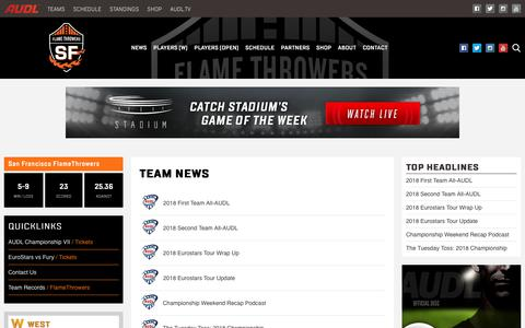 Screenshot of Press Page theaudl.com - Flame Throwers News | AUDL - captured Oct. 2, 2018