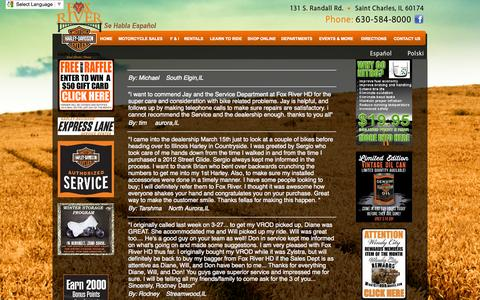Screenshot of Testimonials Page foxriverhd.com - Illinois Harley-Davidson Dealer, Fox River H-D in St. Charles Offers New and Used Motorcycles, Rentals, Courses, Apparel, Parts & Accessories - captured Oct. 6, 2014