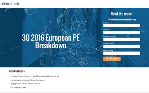 Screenshot of Landing Page pitchbook.com - PitchBook 3Q 2016 European PE Breakdown - captured Nov. 13, 2016