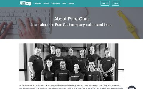 Screenshot of About Page purechat.com - Free Live Chat Software for Websites | About Pure Chat - captured Nov. 4, 2015