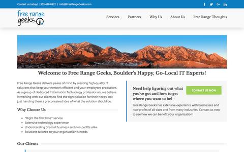 Screenshot of Home Page freerangegeeks.com - Home - captured Aug. 4, 2016