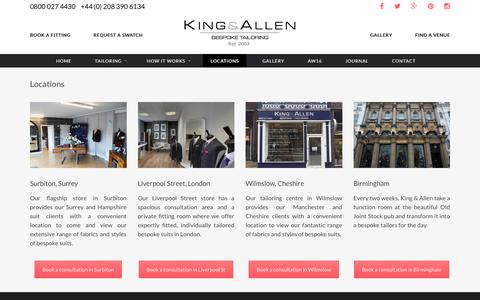 Screenshot of Locations Page kingandallen.co.uk - Find Suit Tailors Near Me | Suit Fitting | King & Allen - captured Nov. 27, 2016