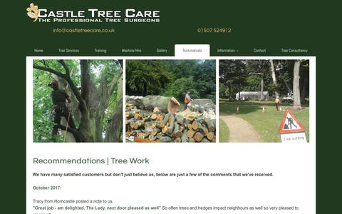 Screenshot of Testimonials Page castletreecare.co.uk - Testimonials | Tree Work Recommendations | Lincolnshire | Castle Tree Care - captured July 16, 2018