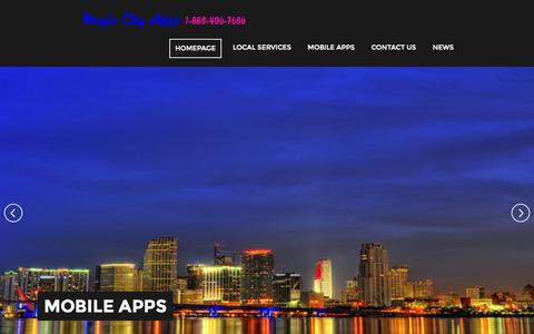 Screenshot of Home Page magiccityapps.com - | Mobile Services | Mobile Apps | Local Seo | Local Wifi - captured Oct. 4, 2014