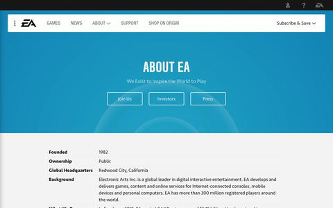 Screenshot of About Page ea.com - About EA - captured Oct. 10, 2018