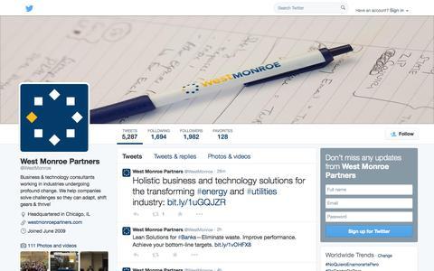 Screenshot of Twitter Page twitter.com - West Monroe Partners (@WestMonroe) | Twitter - captured Oct. 23, 2014
