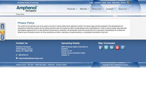 Screenshot of Privacy Page amphenol-aerospace.com - Privacy Policy - captured Nov. 1, 2014