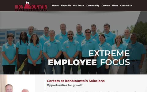 Screenshot of Jobs Page ironmountainsolutions.com - Careers | IronMountain Solutions | Employment Opportunities - captured Nov. 11, 2018
