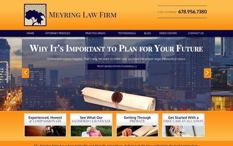 Screenshot of Home Page meyringlaw.com - Estate Planning Attorney in Atlanta | Meyring Law Firm - captured Oct. 8, 2014