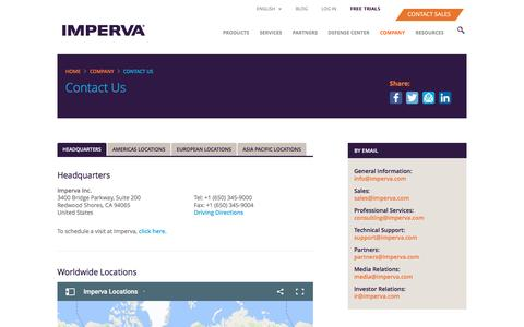 Screenshot of Contact Page imperva.com - Contact - captured Nov. 12, 2016