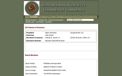 Screenshot of About Page bedfordchamber.org - Bedford, MA Chamber of Commerce - Members and Mission - captured Oct. 5, 2014