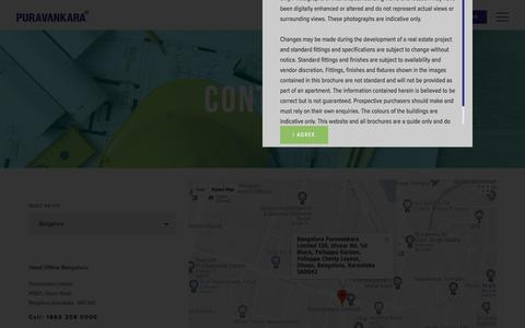 Screenshot of Contact Page puravankara.com - Contact Us | Residential Property | Commercial Property in Bangalore - Puravankara - captured June 12, 2018
