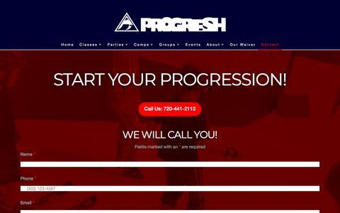 Screenshot of Contact Page progresh.com - Action Sports Complex | Contact Progresh Indoor Sports - captured July 23, 2018