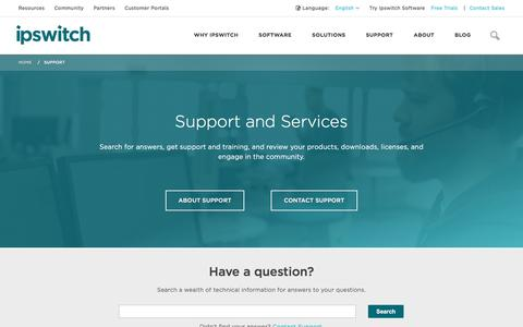 Screenshot of Trial Page ipswitch.com - Support and Services - Ipswitch - captured Nov. 12, 2016
