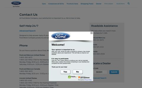 Screenshot of Contact Page ford.com - Contact Us | Ford Motor Company Customer Service | Ford.com - captured Oct. 2, 2015